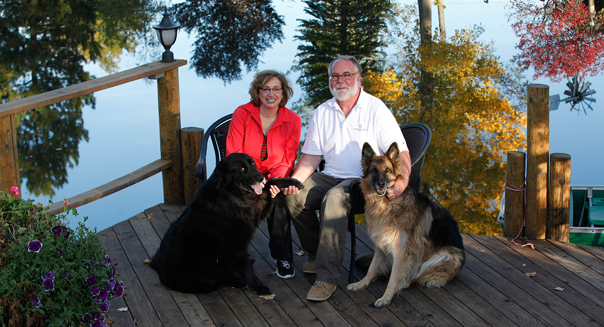Naomi and Herb Duerr with their dogs